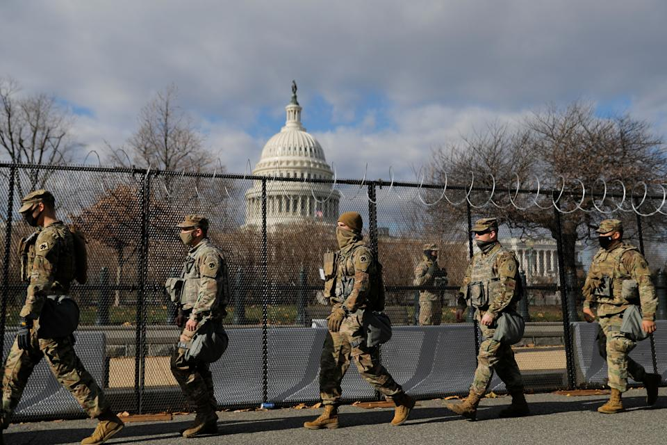 <p>National Guard at the Capitol</p> (REUTERS)