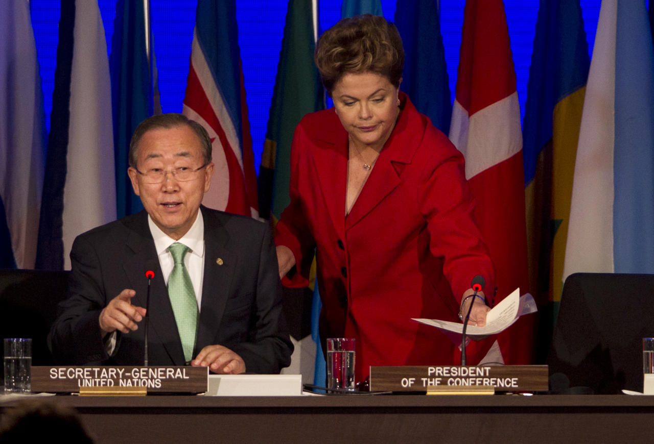 United Nations Secretary General Ban Ki-Moon, left, and Brazil's President Dilma Rousseff at the opening plenary of the United Nations Conference on Sustainable Development or Rio+20, in Rio de Janeiro, Brazil, Wednesday, June 20, 2012. (AP Photo/Silvia Izquierdo)