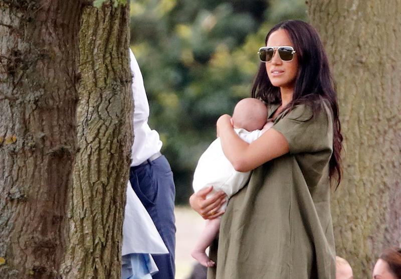 Meghan Markle was spotted holding Archie at the polo on Wednesday. Photo: Getty Images