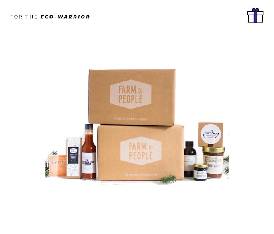 """<p>Farm to People Subscription, Starting at $30 a month, <a href=""""http://www.farmtopeople.com/pages/tasting-box#sign-up-tasty"""" rel=""""nofollow noopener"""" target=""""_blank"""" data-ylk=""""slk:farmtopeople.com"""" class=""""link rapid-noclick-resp"""">farmtopeople.com</a> </p>"""