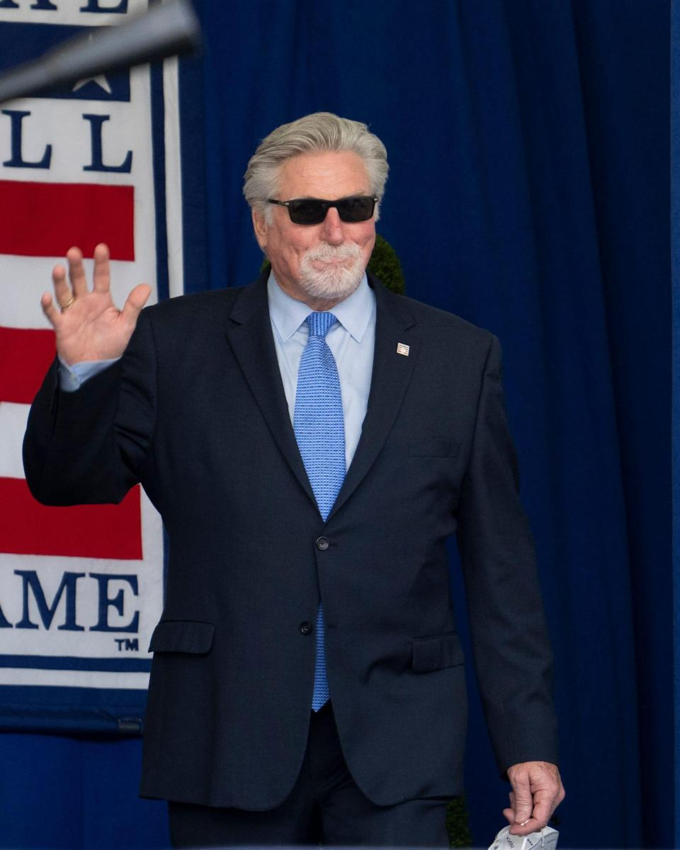 Jack Morris is introduced Wednesday during the 2021 National Baseball Hall of Fame induction ceremony at Clark Sports Center.