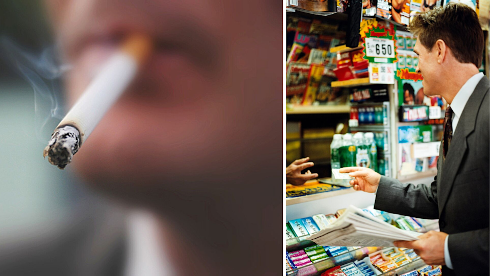 Pictured: Smoker with cigarette and convenience store. Images: Getty