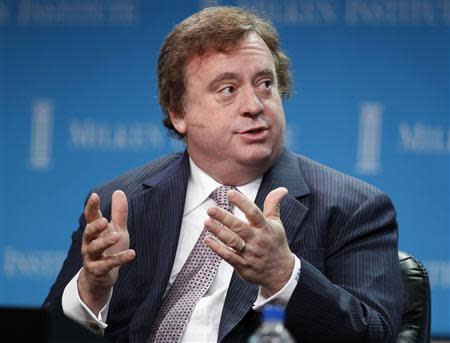 File photo of Loveman, chairman, president and chief executive of Caesars Entertainment Corp., speaking at the Milken Institute Global Conference in Beverly Hills