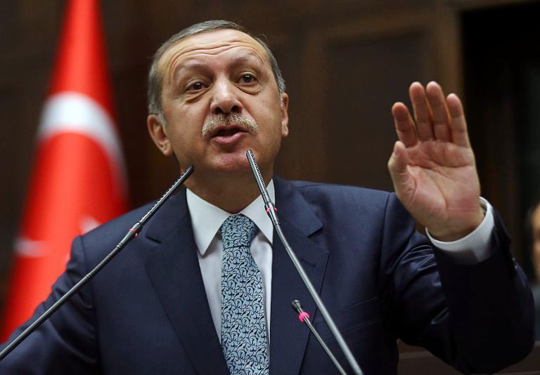 Turkey's Prime Minister Recep Tayyip Erdogan addresses members of his ruling AK Party (AKP) during a session at the parliament in Ankara on February 25, 2014