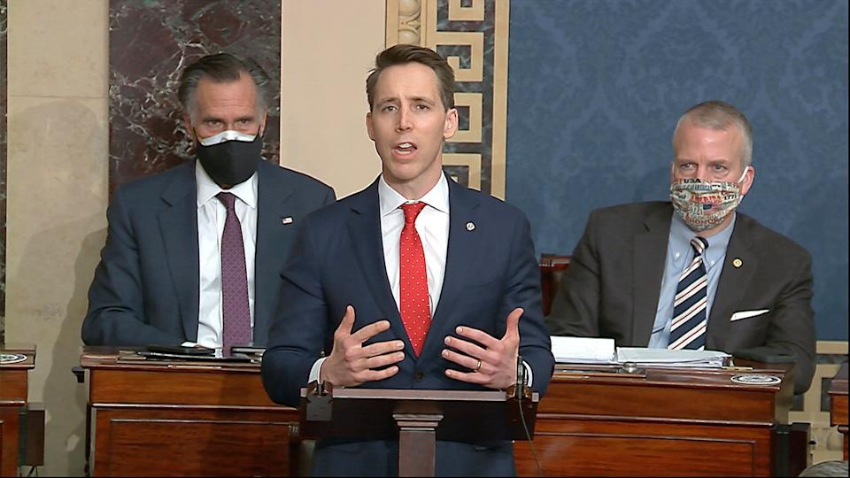 Sen. Josh Hawley (R-Mo.) objects to the certification of Joe Biden's electors after the Capitol was sacked by rioters whom he claimed to speak on behalf of. (Photo: Senate Television via ASSOCIATED PRESS)