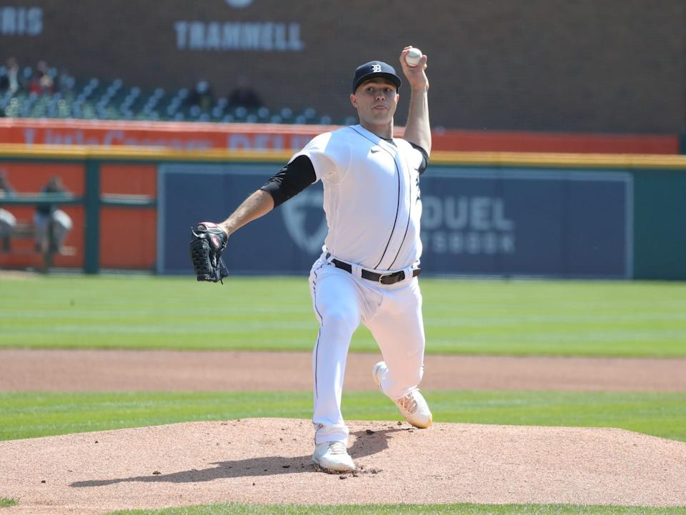Detroit Tigers starting pitcher Tarik Skubal pitches against the Cleveland Indians during the first inning Sunday, April 4, 2021 at Comerica Park.