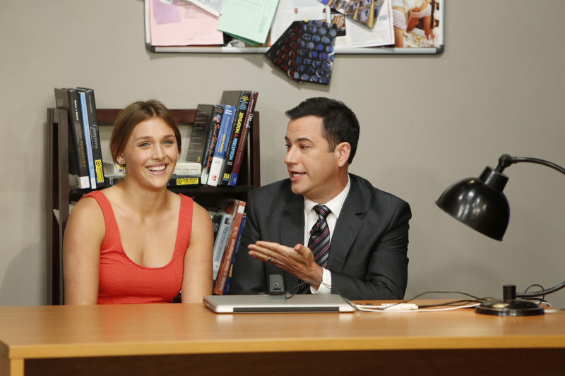 "This undated publicity photo released by ABC shows host Jimmy Kimmel, right, with guest, Daphne the ""Twerk"" Girl, on the Emmy Award-nominated ""Jimmy Kimmel Live,"" Sept. 9, 2013 show. Kimmel said on his ABC talk show Monday, Sept. 9, 2013, that a viral video of a twerking accident was a fake that he arranged as a prank. The show airs every weeknight (11:35 p.m. - 12:41 a.m., ET). (AP Photo/ABC, Randy Holmes)"