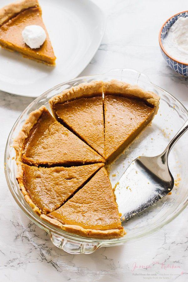 """<p>Hold the heavy cream! This beautiful pumpkin pie recipe contains coconut milk—and it's gluten-free as well.</p><p><strong>Get the recipe at <a href=""""https://jessicainthekitchen.com/vegan-pumpkin-pie-gluten-free/"""" rel=""""nofollow noopener"""" target=""""_blank"""" data-ylk=""""slk:Jessica in the Kitchen"""" class=""""link rapid-noclick-resp"""">Jessica in the Kitchen</a>.</strong> </p>"""