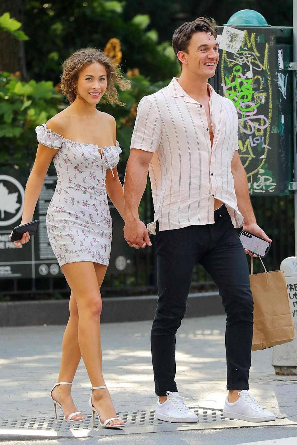 <p>Tyler Cameron and girlfriend Camila Kendra enjoy a lunch date in N.Y.C. on July 22.</p>