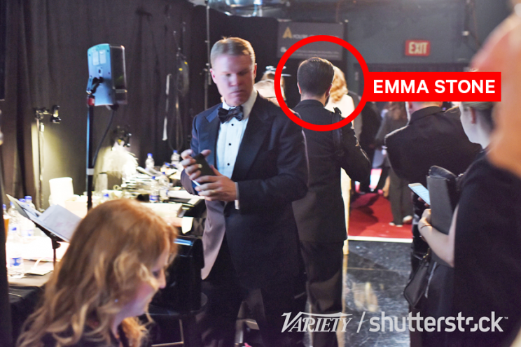 Brian Cullinan backstage as Emma Stone is photographed (Photo: Andrew Walker/Rex/Shutterstock)