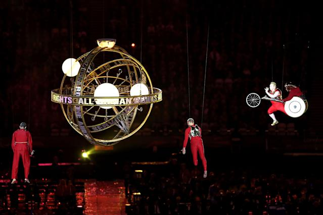 LONDON, ENGLAND - AUGUST 29: Artists perform during the Opening Ceremony of the London 2012 Paralympics at the Olympic Stadium on August 29, 2012 in London, England. (Photo by Scott Heavey/Getty Images)
