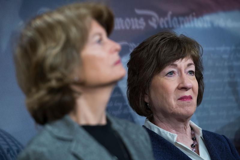 Republican Sens. Lisa Murkowski (left) and Susan Collins are apparently still pondering their decisions on Brett Kavanaugh. (Photo: Tom Williams via Getty Images)