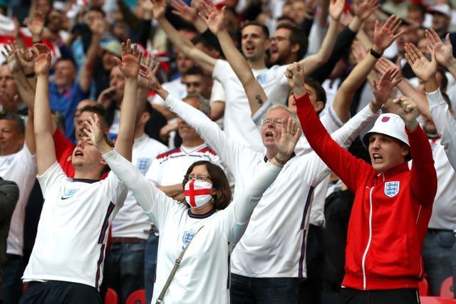 England fans celebrate during the Euro 2020 match against Germany at Wembley