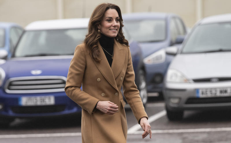 WOKING, ENGLAND - JANUARY 22: Catherine, Duchess of Cambridge visits HMP Send on January 22, 2020 in Woking, England. The visit is part of HRH's 24-hour tour of the country to launch '5 big questions on the under 5s'. (Photo by Mark Cuthbert/UK Press via Getty Images)