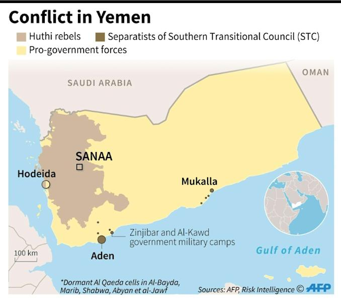 Map showing areas of territorial control in the Yemen conflict, as of February 13