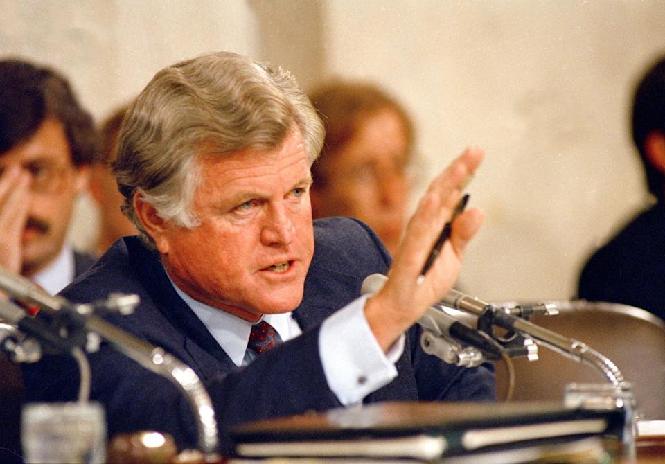 Sen. Edward M. Kennedy (D-Mass.), questions Supreme Court nominee Robert Bork during Senate Judiciary confirmation hearings on Sept. 15, 1987. Kennedy accused Bork of being instinctively biased against claims of the average citizen. (Photo: John Duricka/AP)