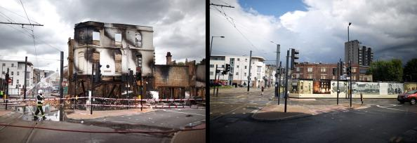 In this composite image (Left Photo) A fire officer stands by the burnt remains of Reeves Corner furniture store on August 9, 2011 in Croydon, England. (Right Photo) The empty space left after Reeves Corner Furniture store was burnt down, one year on from the riots. August 6th marks the one year anniversary of the England riots, over the course of four days several London boroughs, and districts of cities and towns around England suffered widespread rioting, looting and arson as thousands took to the streets. (Peter Macdiarmid/Getty Images)