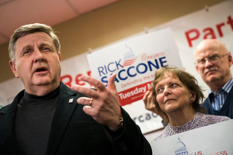 Republican Rick Saccone speaks at a get-out-the-vote event in Pittsburgh on Friday. His opposition to labor union priorities has unified organized labor against him.