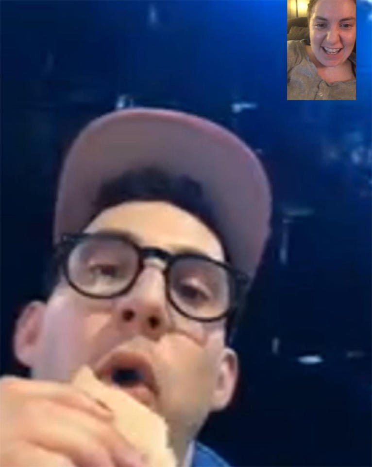 "<p>In addition to <a rel=""nofollow"" href=""https://www.yahoo.com/celebrity/1666977-015919676.html"">eating a banana</a> during the show, Jack Antonoff had a sandwich while facetiming with his ladylove, Lena Dunham. ""Boo at VMAs with a sandwich like the prince he is,"" she wrote. (Photo: <a rel=""nofollow"" href=""https://www.instagram.com/lenadunham/?hl=en"">Lena Dunham via Instagram</a>) </p>"