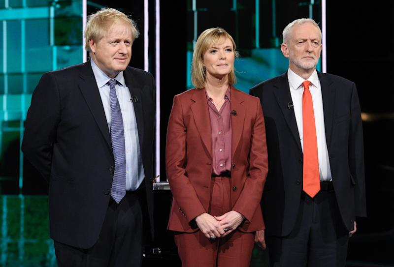 SALFORD, ENGLAND - NOVEMBER 19: (AVAILABLE FOR EDITORIAL USE UNTIL DECEMBER 19, 2019) In this handout image supplied by ITV, Prime Minister Boris Johnson and Leader of the Labour Party Jeremy Corbyn pose with Journalist Julie Etchingham ahead of the ITV Leaders Debate at Media Centre on November 19, 2019 in Salford, England. This evening ITV hosted the first televised head-to-head Leader's debate of this election campaign. Leader of the Labour party, Jeremy Corbyn faced Conservative party leader, Boris Johnson after the SNP and Liberal Democrats lost a court battle to be included. (Photo by Jonathan Hordle//ITV via Getty Images)