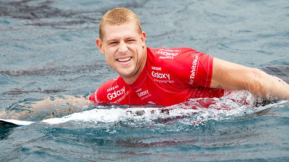 A shark sighting halted competition during Mick Fanning's surfing comeback in Narrabeen. Pic: Getty