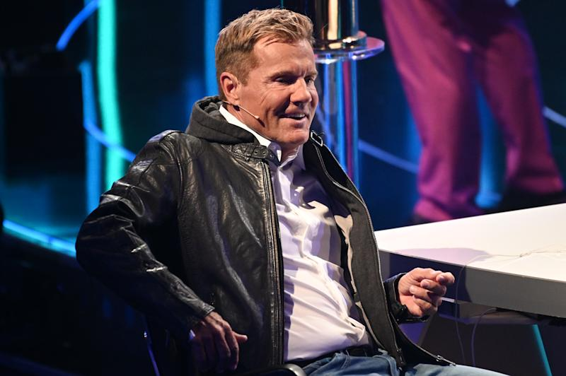 """27 April 2019, North Rhine-Westphalia, Cologne: Jury member Dieter Bohlen sits on stage at the finale of the RTL casting show """"Deutschland sucht den Superstar 2019"""". Photo: Henning Kaiser/dpa (Photo by Henning Kaiser/picture alliance via Getty Images)"""