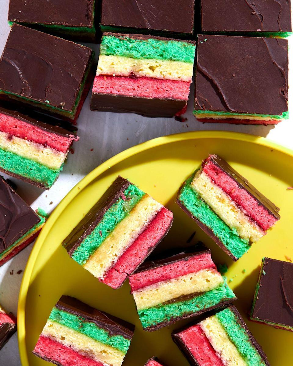 """<p>Italian Rainbow Cookies always catch our eye when we see them packaged at the store or behind the glass counter at bakeries. Now we can make them at home!</p><p>Get the recipe from <a href=""""https://www.delish.com/cooking/recipe-ideas/a35046740/italian-rainbow-cookies/"""" rel=""""nofollow noopener"""" target=""""_blank"""" data-ylk=""""slk:Delish"""" class=""""link rapid-noclick-resp"""">Delish</a>.</p>"""