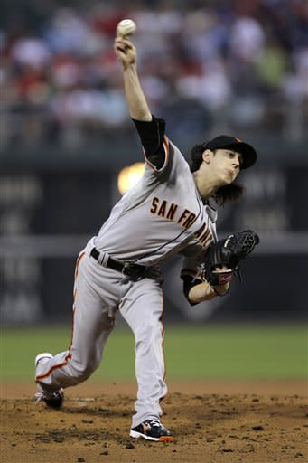 San Francisco Giants' Tim Lincecum pitches in the first inning of a baseball game against the Philadelphia Phillies, Friday, July 20, 2012, in Philadelphia. (AP Photo/Matt Slocum)