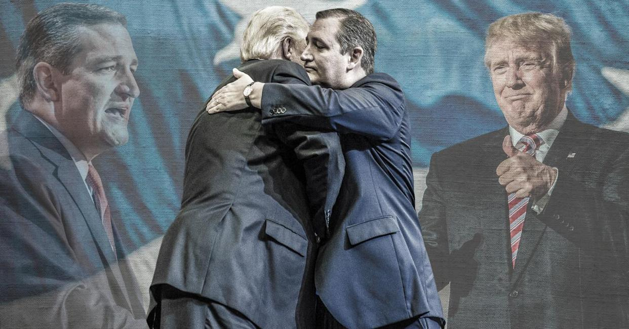 Foreground: President Trump greets Sen. Ted Cruz, R-Texas, during a campaign rally in Houston on Oct. 22. Background: Cruz and Trump at the Republican National Convention in 2016. (Yahoo News photo illustration; photos: Brett Carlsen/Getty Images, Saul Loeb/AFP/Getty Images, Benjamin Lowy/Getty Images)