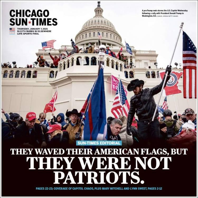 Front page of the Chicago Sun Times on Thursday