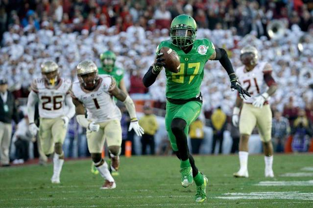 Carrington played in the Rose Bowl vs. Florida State in 2014 but was suspended for the title game. (Getty)