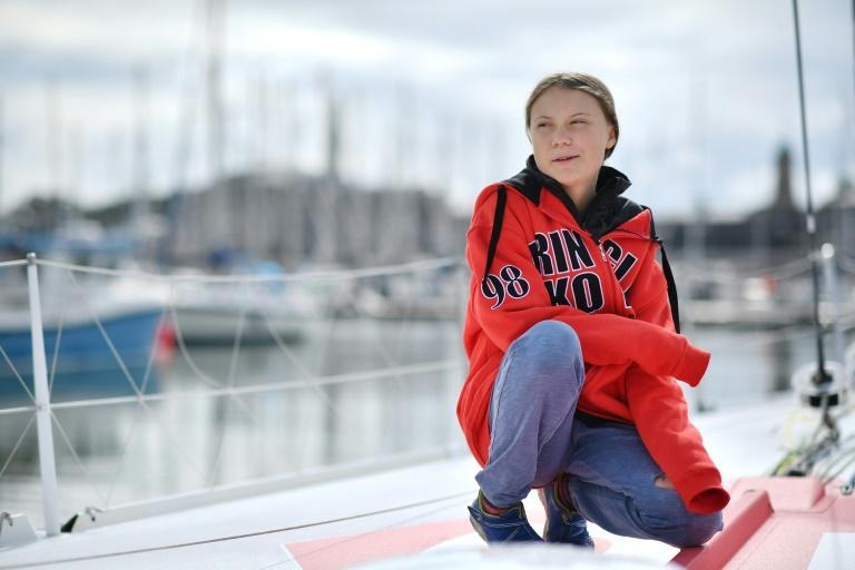 Wind in her sails: Greta Thunberg is heading to North America to continue her climate campaign (AFP Photo/Ben STANSALL)