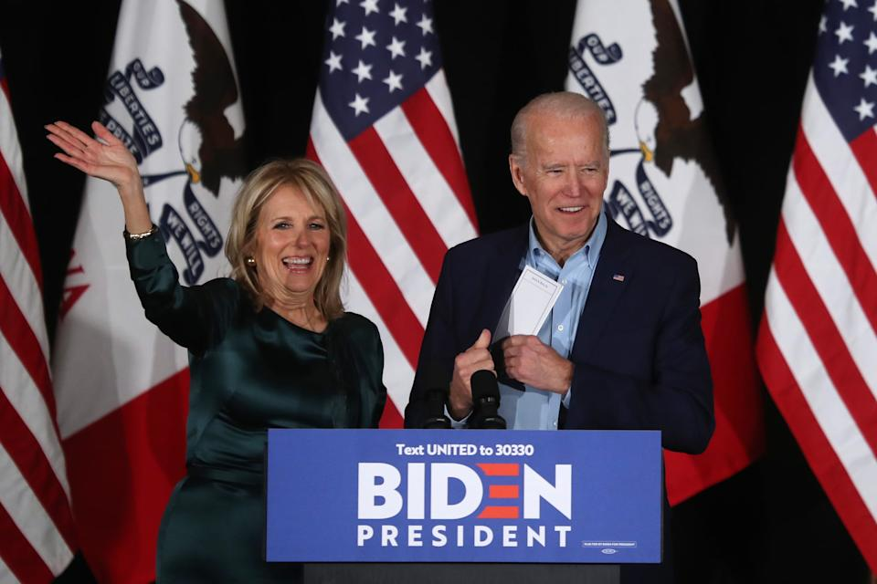 DES MOINES, IOWA - FEBRUARY 03: Democratic presidential candidate former Vice President Joe Biden takes the stage to address supporters with his wife Dr. Jill Biden during his caucus night watch party on February 03, 2020 in Des Moines, Iowa. Iowa is the first contest in the 2020 presidential nominating process with the candidates then moving on to New Hampshire. (Photo by Justin Sullivan/Getty Images)