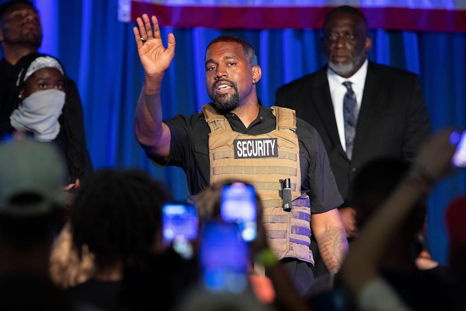 Kanye West makes his first presidential campaign appearance, Sunday, July 19, 2020, in North Charleston, S.C.