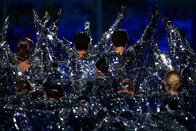 SOCHI, RUSSIA - FEBRUARY 23: Performers dance during the 2014 Sochi Winter Olympics Closing Ceremony at Fisht Olympic Stadium on February 23, 2014 in Sochi, Russia. (Photo by Ryan Pierse/Getty Images)