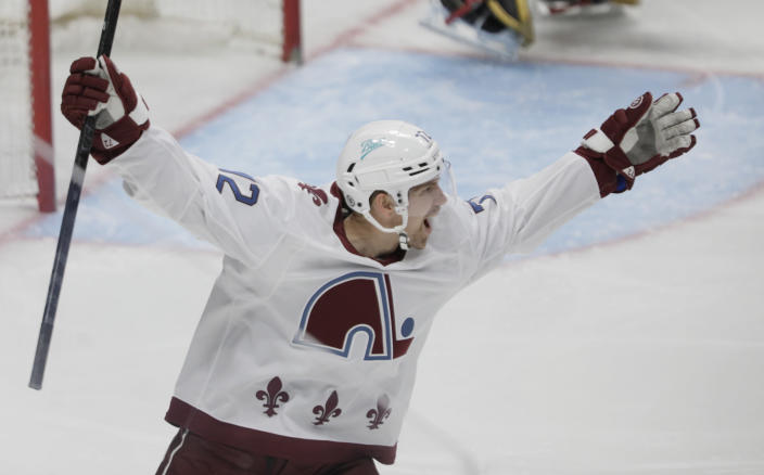 Colorado Avalanche right wing Joonas Donskoi (72) celebrates his goal against the Vegas Golden Knights during the first period of an NHL hockey game in Denver, Saturday, March 27, 2021. (AP Photo/Joe Mahoney)