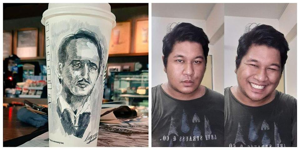 Luqman Hakim only took one hour to finish drawing the Health D-G portrait on a Starbucks cup. — Photo courtesy of Twitter/ Hubert Ian Lee