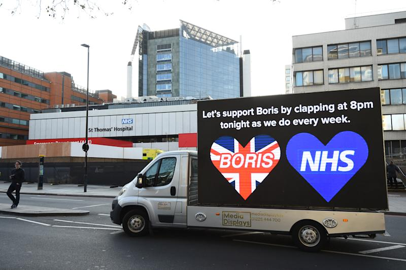 Billboard van outside St Thomas' Hospital in Central London where Prime Minister Boris Johnson is in intensive care as his coronavirus symptoms persist.