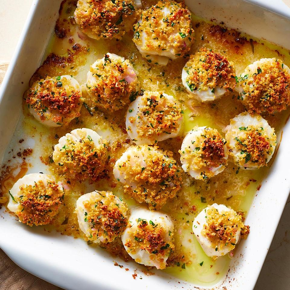 <p>These easy baked scallops have a delightful balance of crunchy, golden-brown topping and tender, sweet scallops. They feel decadent like scallops should, thanks to the tasty lemon-butter sauce. Look for uniform scallops; if they're particularly large, you might need to bake them for more than 10 minutes.</p>