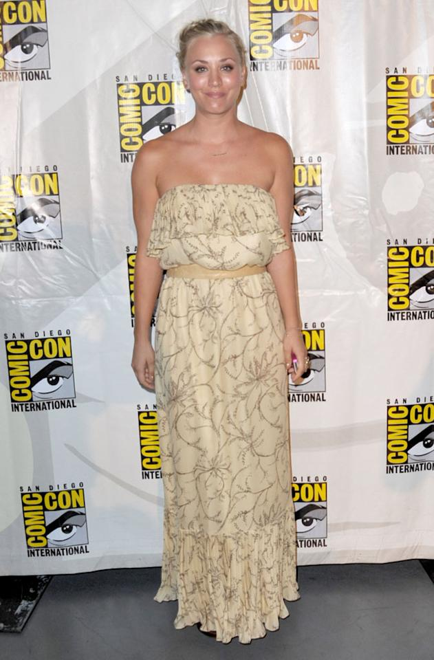 "Actress Kaley Cuoco arrives at the ""The Big Bang Theory"" panel during Comic-Con International 2012 at San Diego Convention Center on July 13, 2012 in San Diego, California."