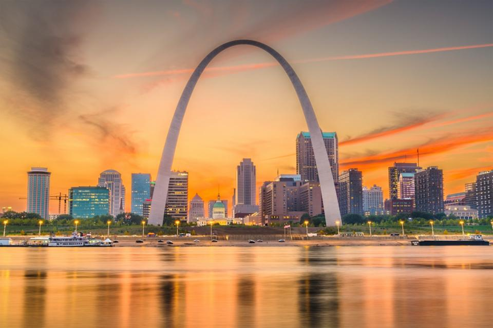 city skyline and Gateway Arch in St. Louis, Missouri