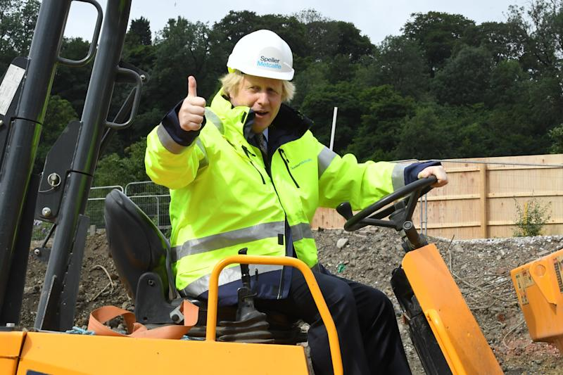 DUDLEY, ENGLAND - JUNE 30: Prime Minister Boris Johnson visits the Speller Metcalfe's construction site for the The Dudley Institute of Technology on June 30, 2020 in Dudley, England. (Photo by Jeremy Selwyn - WPA Pool/Getty Images)
