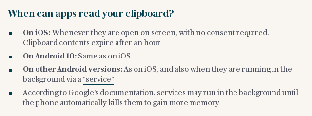 When can apps read your clipboard?