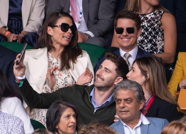 Tom Cruise (right) was among the fans at Wimbledon for the women's final.