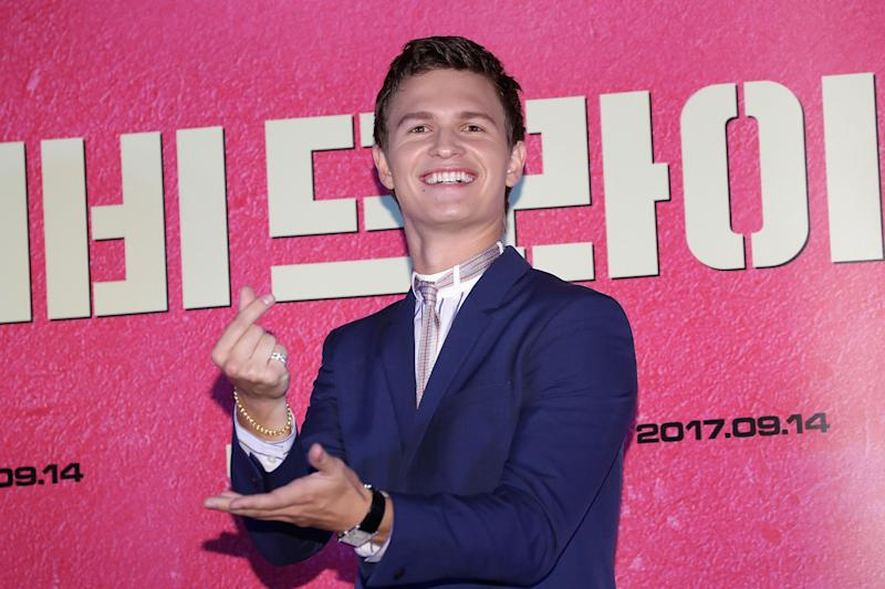 """Ansel Elgort ata """"Baby Driver"""" press conference in Seoul in August 2017."""