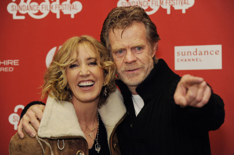 "William H. Macy, right, writer/director/cast member of ""Ruddlerless,"" poses with his wife, cast member Felicity Huffman, at the premiere of the film at the 2014 Sundance Film Festival, on Friday, Jan. 24, 2014, in Park City, Utah. (Photo by Chris Pizzello/Invision/AP)"