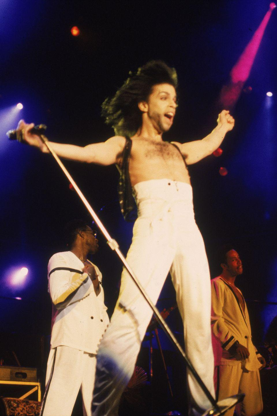 "<p>During a performance on his ""Nude"" Tour</p>"