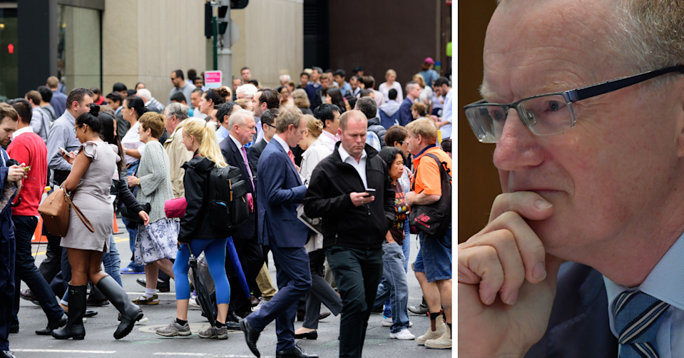 A busy crosswalk in Sydney's CBD and RBA Governor Philip Lowe