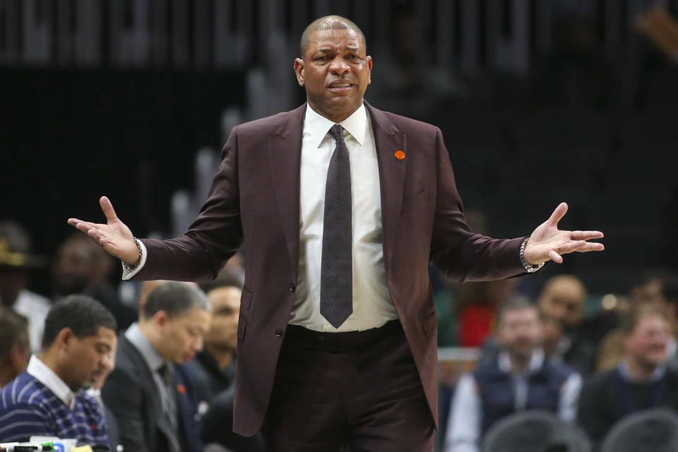Los Angeles Clippers head coach Doc Rivers reacts to a foul call in the first half of an NBA basketball game against the Atlanta Hawks, Wednesday, Jan. 22, 2020, in Atlanta. (AP Photo/Brett Davis)