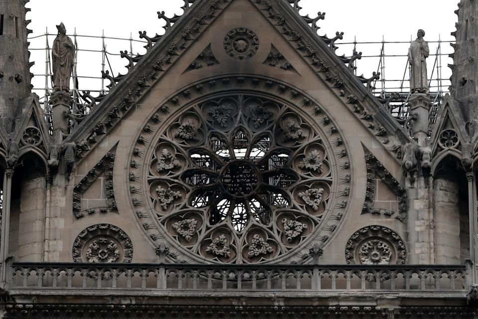 View of Notre-Dame Cathedral after a fire devastated large parts of the gothic gem in Paris, France, April 16, 2019. A massive fire consumed the cathedral on Monday, gutting its roof and stunning France and the world.  REUTERS/Benoit Tessier